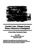Comfort Lake, Chisago County Phase I Resource Investigation -- A Clean Water Partnership Project
