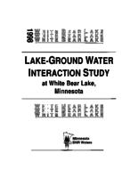 Lake-ground water interaction study at White Bear Lake, Minnesota