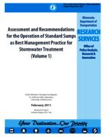 Assessment and Recommendations for the Operation of Standard Sumps as Best Management Practice for Stormwater Treatment (Volume 1)