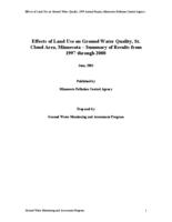 Effects of Land Use on Ground Water Quality, St. Cloud Area, Minnesota – Summary of Results from 1997 through 2000