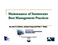 Maintenance of Stormwater Best Management Practices