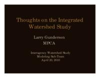 Thoughts on the Integrated Watershed Study [Minnesota Pollution Control Agency]