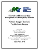 International Stormwater Best Management Practices (BMP) Database Pollutant Category Summary: Fecal Indicator Bacteria