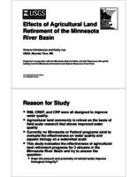 Effects of Agricultural Land Retirement of the Minnesota River Basin [presentation]
