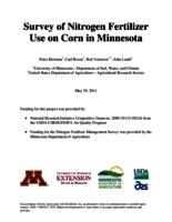 Survey of Nitrogen Fertilizer Use on Corn in Minnesota
