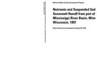 Nutrients and Suspended Sediment in Snowmelt Runoff from part of the Upper Mississippi River Basin, Minnesota and Wisconsin, 1997