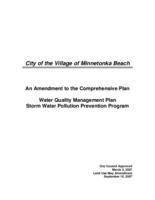 City of the Village of Minnetonka Beach An amendment to the comprehensive plan water quality management plan storm water pollution prevention program