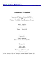 Removal of Perfluorochemicals (PFC's) Point-of Use (POU) water treatment devices (Final report)