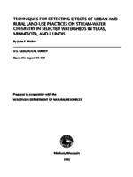 Techniques for Detecting Effects of Urban and Rural Land-Use Practices on Stream-Water Chemistry in Selected Watersheds in Texas, Minnesota, and Illinois