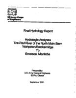 Final Hydrology Report Hydrologic analyses The Red River of the North Main Stem Wahpeton/Breckenridge to Emerson, Manitoba
