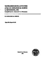 Water-Resource Activities of the U.S. Geological Survey in Minnesota, 1991