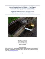 Como Neighborhood KAP Study – Final Report Community Clean-ups for Water Quality (CCWQ)