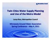 Twin Cities Water Supply Planning and Use of the Metro Model [Presentation]