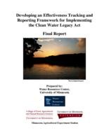 Developing an Effectiveness Tracking and Reporting Framework for Implementing the Clean Water Legacy Act Final Report