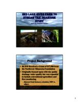 Red lake river farm to stream tile drainage study [Red Lake Watershed District] [Presentation]