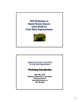 2010 Workshops on Digital Terrain Analysis with LiDAR for Clean Water Implementation [Minnesota Department of Agriculture] [Presentation]