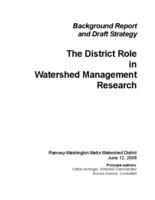 Background Report and Draft Strategy : The District Role in Watershed Management Research