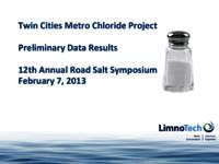 Twin Cities Metro Chloride Project: Preliminary Data Results [Presentation]