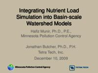 Integrating Nutrient Load Simulation into Basin-scale Watershed Models [Minnesota Pollution Control Agency] [Presentation]