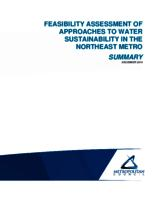FEASIBILITY ASSESSMENT OF APPROACHES TO WATER SUSTAINABILITY IN THE NORTHEAST METRO Summary