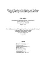 Effects of Phosphorus Fertilization and Turfgrass Clipping Management on Phosphorus Runoff