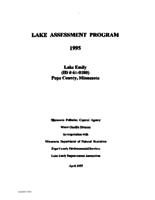 Lake Assessment Program - Lake Emily, Pope County