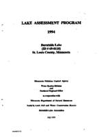 Lake Assessment Program - Burntside Lake, St Louis County