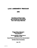 Lake Assessment Program - East Battle and Stuart Lakes, Otter Tail County