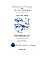 Lake Assessment Program - Lake Frances and Lake Tustin, LeSueur County