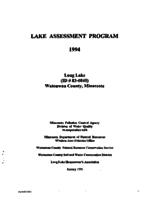 Lake Assessment Program - Long Lake, Watonwan County