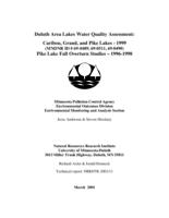 Duluth Area Lakes Water Quality Assessment: Caribou, Grand, and Pike Lakes