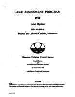 Lake Assessment Program - Lake Elysian, Waseca-LeSueur Counties