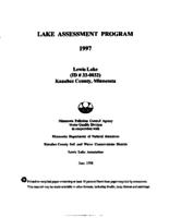 Lake Assessment Program - Lewis Lake, Kanabec County