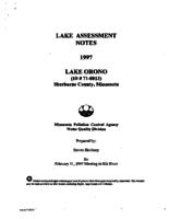 Lake Assessment Notes 1997 - Lake Orono, Sherburne County