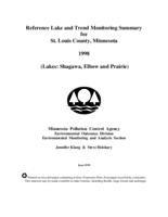 Reference Lake and Trend Monitoring Summary for St. Louis County, Minnesota 1998 (Lakes: Shagawa, Elbow and Prairie)