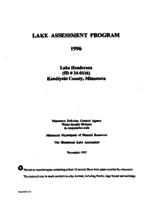 Lake Assessment Program - Lake Henderson, Kandiyohi County