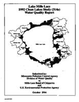Lake Mille Lacs 1992 Clean Lakes Study (314a) Water Quality Report