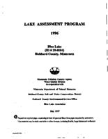Lake Assessment Program - Blue Lake, Hubbard County