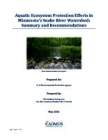 Aquatic Ecosystem Protection Efforts in Minnesota's Snake River Watershed: Summary and Recommendations