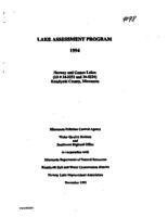 Lake Assessment Program 1994 - Norway and Games Lakes, Kandiyohi County