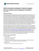 Small community wastewater treatment program start-up assistance and management evaluation