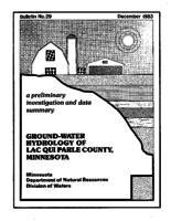 Ground-Water Hydrology of Lac Qui Parle County, Minnesota