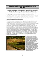 How to Manipulate Water in a New, Restored, or Enhanced Wetland to Encourage Wetland Plant Establishment