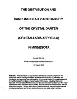 The Distribution And Sampling Gear Vulnerability Of The Crystal Darter (Crystallaria Asprella) In Minnesota