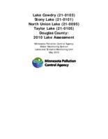 Lake Cowdry, Stony Lake, North Union Lake, Taylor Lake, Douglas County: 2010 Lake Assessment