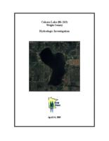 Cokato Lake Wright County Hydrologic Investigation