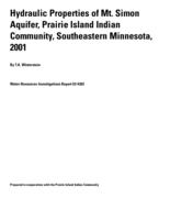 Hydraulic Properties of Mt. Simon Aquifer, Prairie Island Indian Community, Southeastern Minnesota, 2001