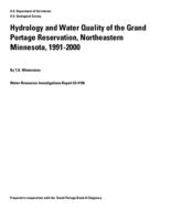 Hydrology and Water Quality of the Grand Portage Reservation, Northeastern Minnesota, 1991-2000