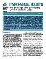 Blue-green Algal Toxin (Microcystin) Levels in Minnesota Lakes
