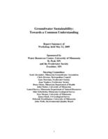 Groundwater Sustainability: Towards a Common Understanding